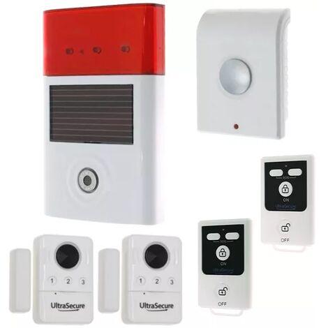 Kit autonome sans-fil double détection d'ouverture et quadruple alerte 130 dB + 2 télécommandes (gamme BT)