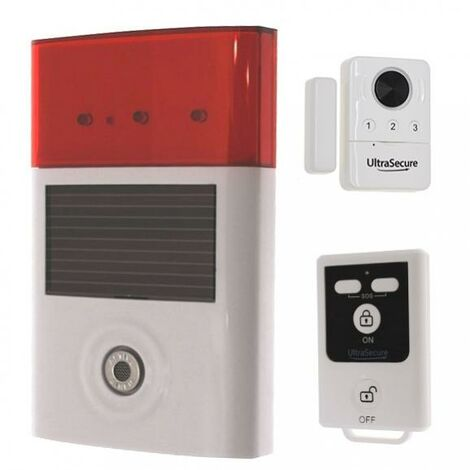 Kit autonome sans-fil sirène solaire + détecteur d'ouverture porte et fenêtre avec sirène + télécommande (gamme BT)