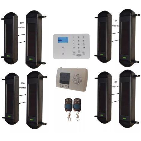 Kit avancé alarme périmétrique GSM 2G+3G - 4 jeux barrières infrarouges 900 mètres sans-fil FX 1B (gamme KP/FX)