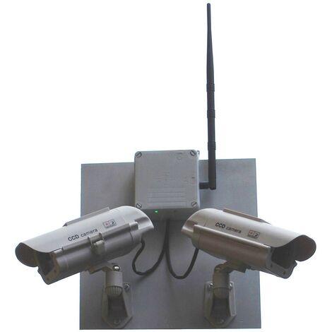 Kit avancé double caméra de surveillance factice (leurre) DC23 solaire avec boîtier de gestion réaliste et LEDs