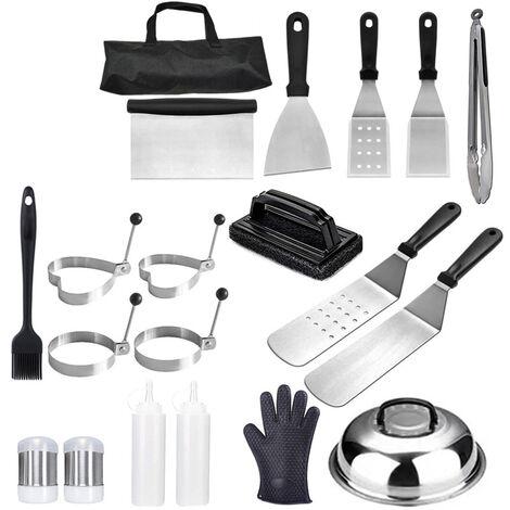 Kit Barbecue, 20 Pieces Accessoires Barbecue Ustensiles pour Plancha BBQ Spatules Set et Grattoir a Gril Flipper Acier Inoxydable