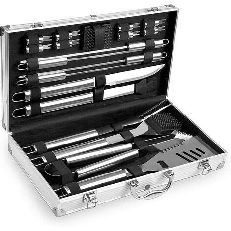 Kit Barbecue en Acier Inoxydable - Mallette de Rangement en Aluminium - Utensiles pour BBQ Professionnel - Set de 18 Pièces