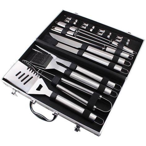 Kit Barbecue Per Barbecue, Set Di Attrezzi Per Barbecue, 18 utensili di acciaio inox, con custodia in alluminio, Materiale: Lega di alluminio