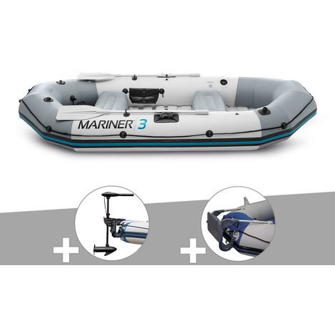 Kit bateau gonflable 3 places Mariner 3 avec moteur, rames et gonfleur - Intex
