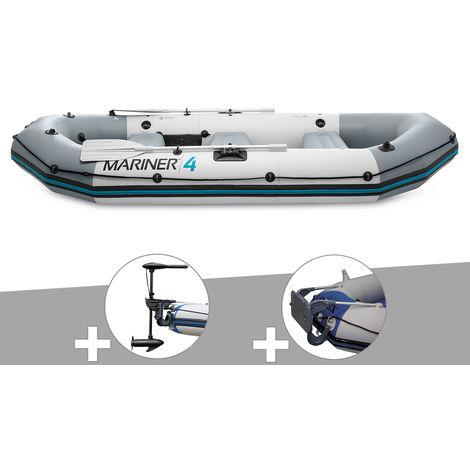 Kit bateau gonflable 4 places Mariner 4 avec moteur, rames et gonfleur - Intex