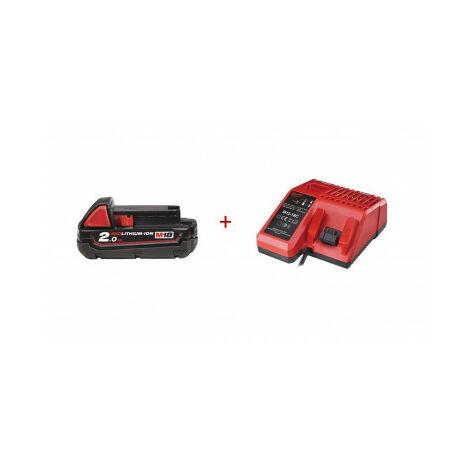 Kit batterie Redlithium-ion M18 2.0Ah + chargeur de batterie Milwaukee M12-18C