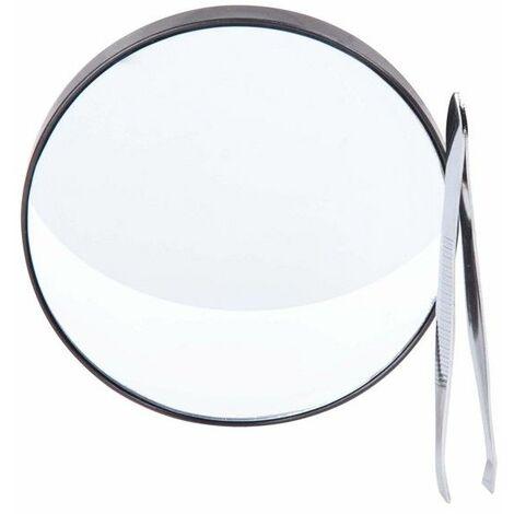 Kit beauté - Miroir grossissant 15x et pince à épiler - D 9 cm