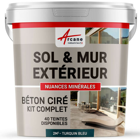 KIT BETON CIRE EXTERIEUR : Pour sol, mur, terrasse, balcon, escalier
