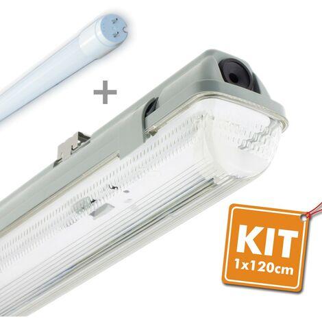 Kit Boitier LED 18W 120cm T8 étanche + Tube LED