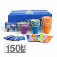 Kit borbone accessori 150 bicchieri caffe palette bustine zucchero originale