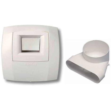 Kit bouche Hygro Bain B14 125 - Minigaine ALDES - 11023186 Bouche d'extraction pour salle de bain et coude pour réseau Minigaine Aldes à raccorder à une VMC double flux.