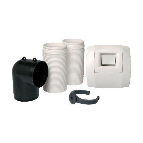 Kit bouche hygro WC W13 Présence 80 - Optiflex ECO ALDES - 11023189 Bouche d'extraction pour WC, coude équerre et rallonge, pour réseau Flexigaine Aldes à raccorder à une VMC double flux.