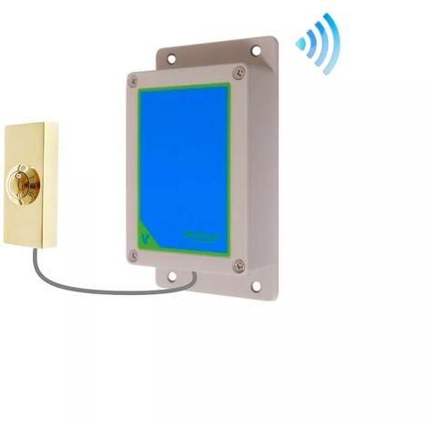 Kit bouton-émetteur sonnette IP65 sans-fil autonome extérieure longue portée doré (PROTECT 800)