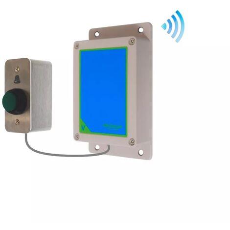 Kit bouton-émetteur sonnette IP65 sans-fil autonome extérieure longue portée haute résistance 'cloche' (PROTECT 800)