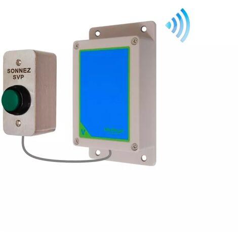 Kit bouton-émetteur sonnette IP65 sans-fil autonome extérieure longue portée haute résistance 'sonnez svp' (PROTECT 800)
