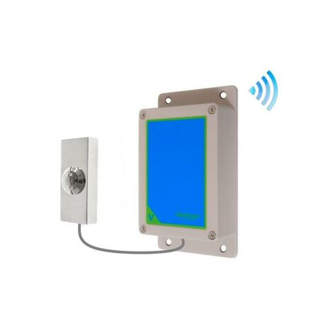 Kit bouton-émetteur sonnette IP65 sans-fil autonome extérieure longue portée métal brillant (PROTECT 800)