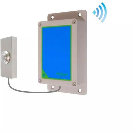 Kit bouton-émetteur sonnette IP65 sans-fil autonome extérieure longue portée métal brossé (PROTECT 800)