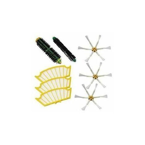 Kit brosses centrales compatibles pour iRobot Roomba + 3 filtres + 3 brosses latérales à 6 bras Série 500 510 520 521 530 5
