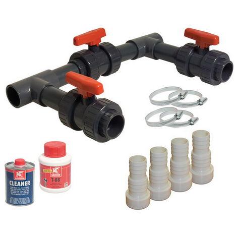 Kit by-Pass complet BASIC pour pompe à chaleur piscine hors-sol ou enterrée