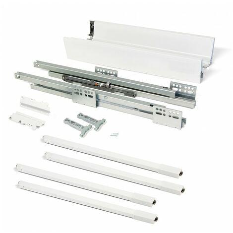 Kit cajón de cocina Vantage-Q, altura 204 mm, prof. 500 mm, con barandillas, cierre suave, Acero, Blanco