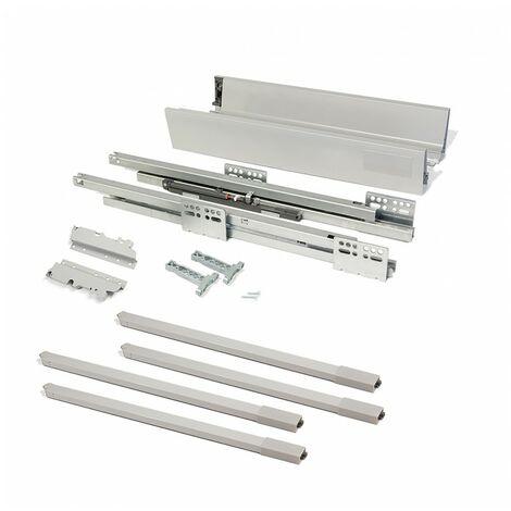 Kit cajón de cocina Vantage-Q, altura 204 mm, prof. 500 mm, con barandillas, cierre suave, Acero, Gris metalizado
