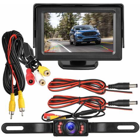 Kit caméra de recul et moniteur étanche 4.3 Affichage 7 LED Plaque d'immatriculation Caméra de recul Système de stationnement Vision nocturne IR pour voiture / véhicule / SUV / Van / Campe