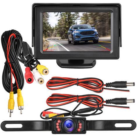 Kit caméra de recul et moniteur étanche 4.3 Affichage 7 LED Plaque d\'immatriculation Caméra de recul Système de stationnement Vision nocturne IR pour voiture / véhicule / SUV / Van / Campe