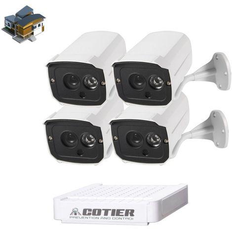 Kit caméra NVR pour IP méga pixel / L 4 Ch 720P, vision nocturne / détection de mouvement, distance IR: 20 m