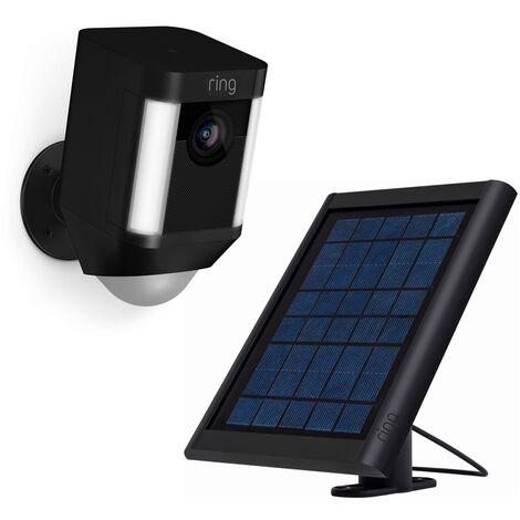 Kit caméra Spotlight Cam Battery avec chargeur solaire (noir) - Ring - Noir