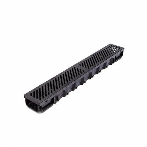 Kit Caniveau Standard 1000x130x75 mm noir + 2 grilles en fonte anti-talon B125