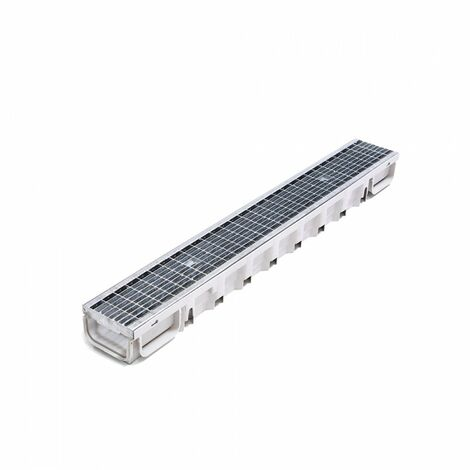 Kit Caniveau Standard 1000x130x75mm clipsable gris + grille anti-talon B125