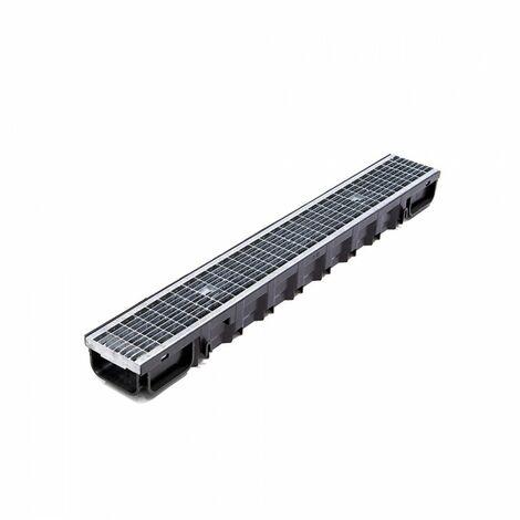 Kit Caniveau Standard 1000x130x75mm clipsable noir + grille anti-talon B125