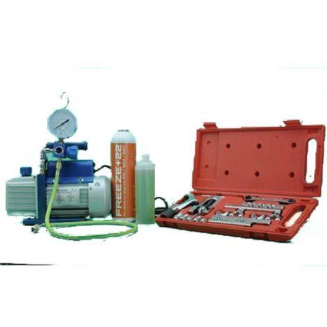 Kit Carga Abocardador + Bomba Vacio + Analizador + Freeze +22 R404A, R407C, R22, R134A
