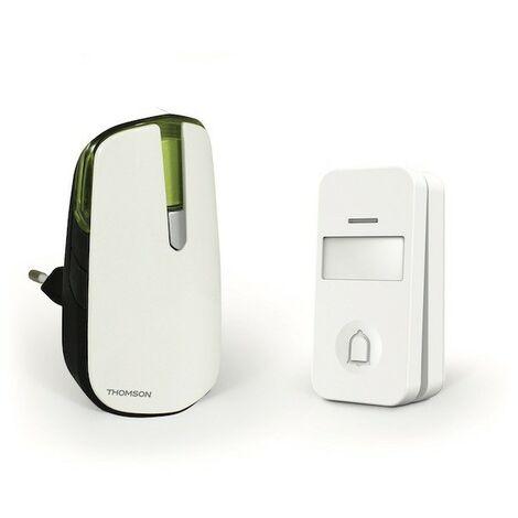 Kit carillon radio sans fil à brancher sur prise 230V - Portée 150m - Blanc/Vert