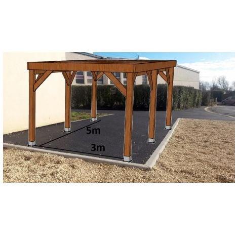 KIT Carport Bois Douglas Naturel Solide et Durable sans couverture. Dim. 3.20 m x 5.10 m. Livraison Gratuite FR