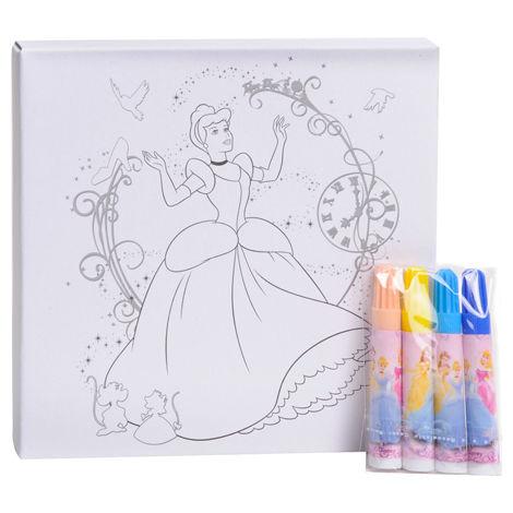 Kit Carta Tela Telaio Da Colorare Più Pennarelli Disney 4 Modelli