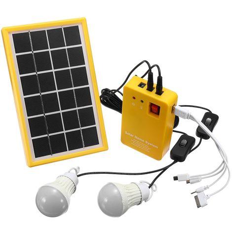 Kit Chargeur Solaire 6V 3W + 3 LED Ampoules + USB Chargeur Panneau d'alimentation