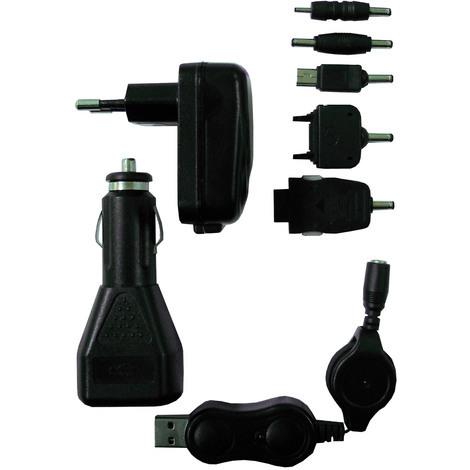 Kit chargeur USB composé de: 1 adaptateur voiture en USB + 1 cordon rétractable USB + 1 chargeur mural USB + 5 connecteurs
