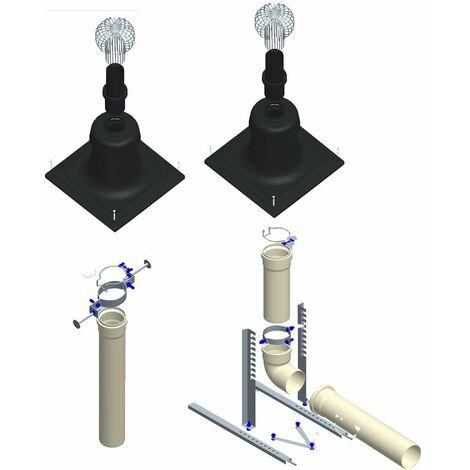 Kit CHEMILUX B22p et B23p PPTL - Entrée plafond D110