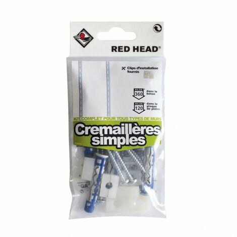 Kit chevilles à verrouillage de forme crémaillère simple RED HEAD, Diam.8xL.50mm