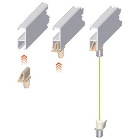 Kit cimaise Civiclic 2 fil de 2m + 2 crochets suspenseur blanc 2 m