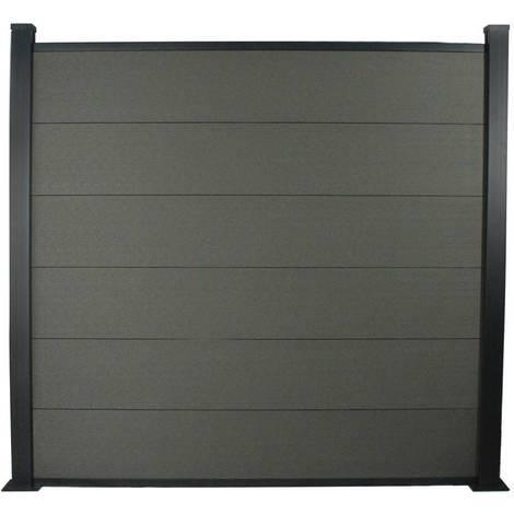 Kit Clôture 1.6x1.6m composite et aluminium + profilés de finitions - Gris foncé - Kit de fixation offert