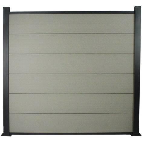 Kit Clôture 1.6x1.6m composite et aluminium + profilés de finitions - Gris - Kit de fixation offert