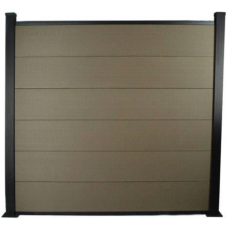 Kit Clôture 1.6x1.6m composite et aluminium + profilés de finitions - Marron - Kit de fixation offert