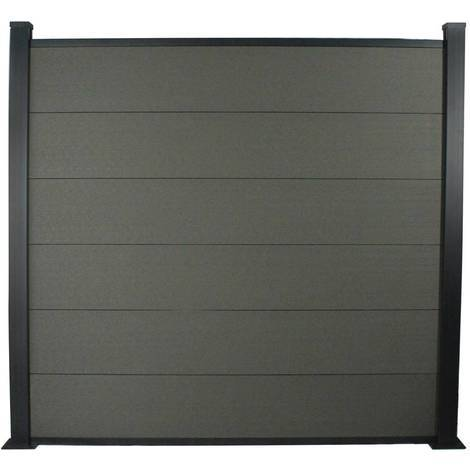 Kit Clôture 4.8x1.6m composite et aluminium + profilés de finitions - Gris foncé - Kit de fixation offert