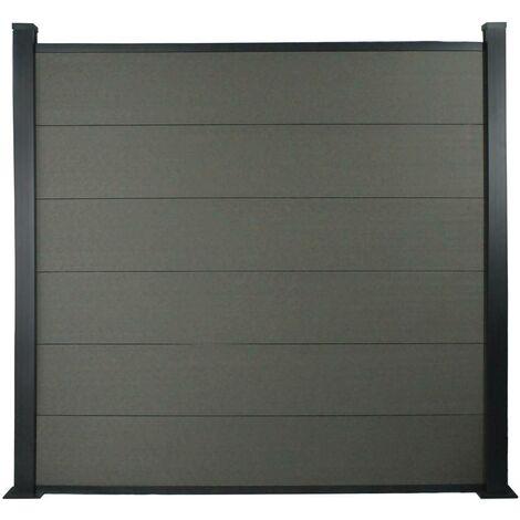 Kit Clôture 8x1.6m composite et aluminium + profilés de finitions - Gris foncé - Kit de fixation offert