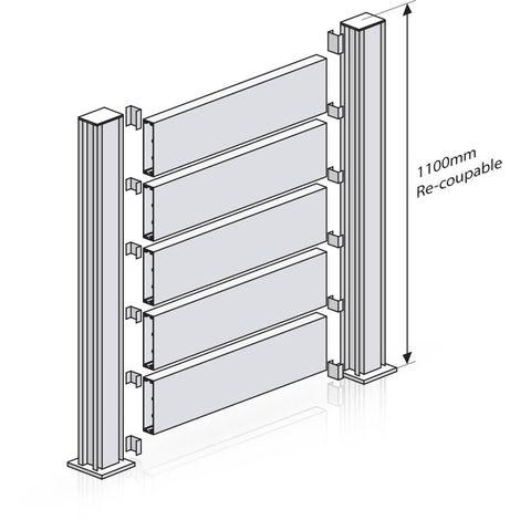 Kit Clôture Ajouré - Blanc - Longueur : 8 m - Hauteur : 1 lame (environ 245 mm)