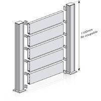 Kit Clôture Ajouré Gris - Longueur : 4 m - Plusieurs hauteurs disponibles
