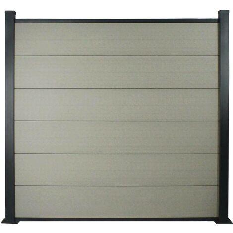 Kit Clôture de 8x1.6m composite et aluminium + profilés de finitions - Gris - Kit de fixation offert