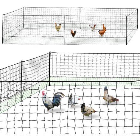 Kit clôture filet à poules 12M avec porte 6 piquets double pointe